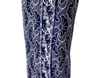 Beach Sarong Pareo Navy Blue & White Gingko Sarong Skirt or Dress Womens or Mens Beach Cover Up - Batik Sarong Wrap Skirt - Womens Swimwear