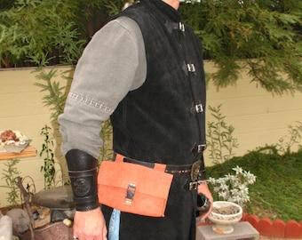 Hand Stitched Leather Pouch Set~Renaissance Faire Costume~LARP~Ritual