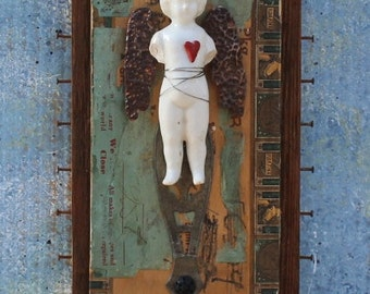 "Assemblage Art Shrine Found Objects Mixed Media Frozen Charlottes ""Let your heart speak"""