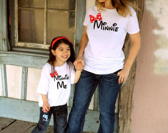 2 Shirts- disney fan Mommy and Me Minnie Shirts, Matching Shirts, Minnie Me, Disney Shirts Outfit Mother Daughter womens girl FREE SHIPPING!