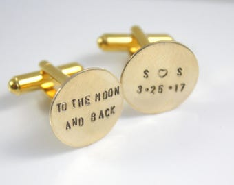 Personalized Cuff Links Cufflinks - To The Moon And Back - Groom Cuff Links - Wedding Cuff Links - Gift For Groom - Love You The The Moon
