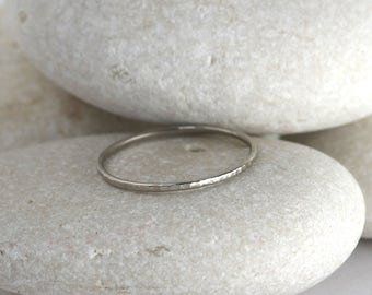 Skinny white gold ring in 14K white palladium gold, hammered stacking ring or knuckle ring