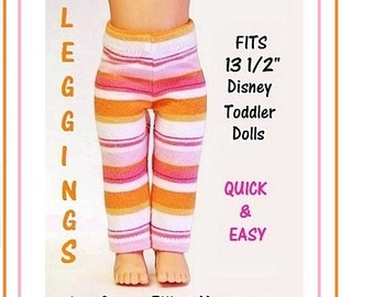 Leggings Pattern Tutorial for 13 1/2 inch Disney Toddler Princess Dolls Ankle 3 Lengths Ankle Capri Biking Shorts