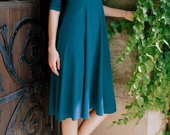 Adèle Classic V-Neck Dress - blue dress - spring fashion - midi dress - teal dress  - tall clothing - modal - modest clothing - modest dress
