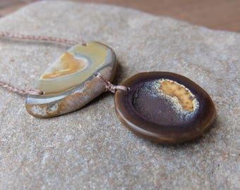 Ribbon stone, Iron stone dish necklace, brown beige stone jewelry, adjustable length, natural jewellery handmade in Australia
