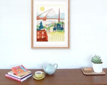 Large Dublin Print, Irish Art Poster, Travel Art, Paper Art Print, Dublin Art Print, Illustration, Home Office Decor