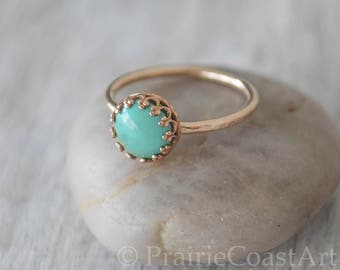 Gold Turquoise Ring in 14k Gold-Filled - American Turquoise Ring - Handcrafted Artisan Ring