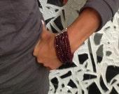 Garnet Bracelet//Multi strand Bracelet//Beaded Garnet Bracelet with Sterling Silver-Elegant Timeless Holiday Jewelry by Sharona Nissan 4141B
