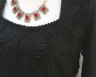steampunk top, steampunk blouse, steampunk costume, handmade blouse, black beaded top, black lace blouse, black steampunk top, victorian