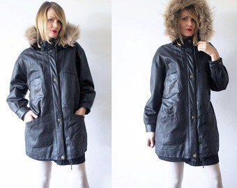 90s hooded parka. black leather parka. fur trim coat. hooded coat - small