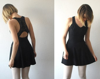 90s black skater dress. mini dress with mesh back. cut out dress - xxs