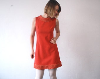 60s mini dress. Space Age dress. burnt orange dress - small to medium