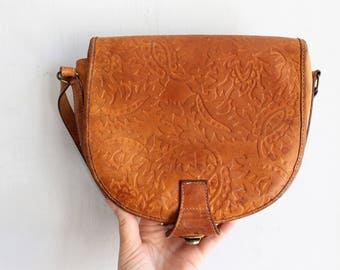 80s vintage tooled leather crossbody bag mini purse | made in Italy