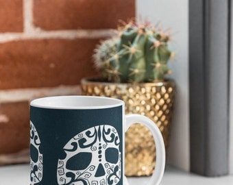 Skull Coffee Mug // Ceramic Coffee Cup // Tea Cup // Kitchen Drinkware // Home Decor // Day Of The Dead // Sugar Skull // Illustrated Skull