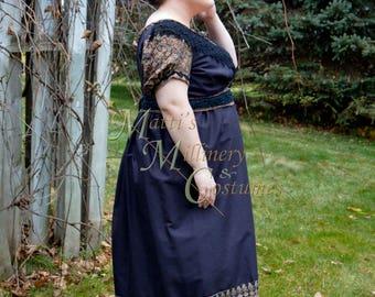 Cotton Sari Crossover Jane Austen Regency Day Gown Dress Evening Mourning