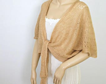 Vintage 1960's Shrug Sweater Lightweight Golden Brown Knit Tie Front Cover Up