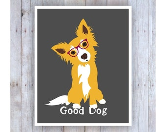 Dog Art, Dog Artwork, Cute Dog, Dog Poster, Dog Glasses, Dog Decor, Dog Wall Decor, Good Dog, Yorkshire Terrier, Pet Decor, Pet Art