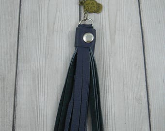 Boho Necklace, Charm Beads, Charm Necklace, Tassel, Tassel Necklace, Leather Tassel Necklace, Long Tassel Necklace, Leather, Upcycled