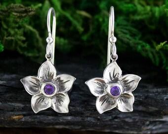Amethyst Flower Earrings, Dogwood Flower, Handmade, Dangle Earring, February Birthstone