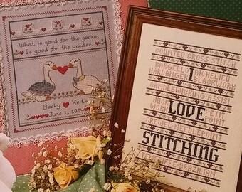 2 Cross Stitch patterns: Wedding Sampler Goose and Gander & I LOVE STITCHING sampler tear outs