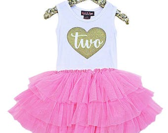 Sale 2nd Birthday outfit three heart dress gold glitter girls tutu dress pink gold birthday party second birthday