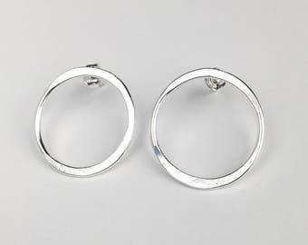 Silver Hoop Studs - Open Circle Stud Earrings - Circle Post Earrings - Silver Stud Earrings - Sterling Silver Studs - Everyday Jewelry