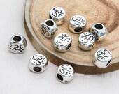 Ohm  Beads, Silver Metal, 10pcs, 10x8mm, Mala Beads, Yoga Style, 4mm Hole -C844