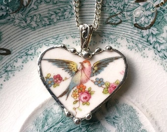 Broken china jewelry - heart pendant necklace - bird of paradise rose garland made from antique recycled broken china