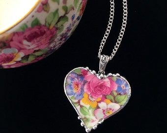Broken china jewelry pendant necklace - antique summertime chintz heart pendant made from recycled china
