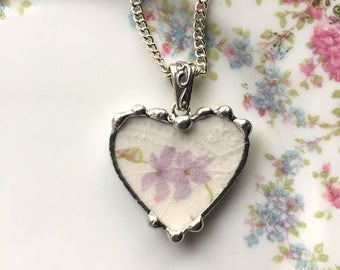 Delicate floral antique china heart, broken china jewelry, heart pendant necklace, purple or lavender flowers