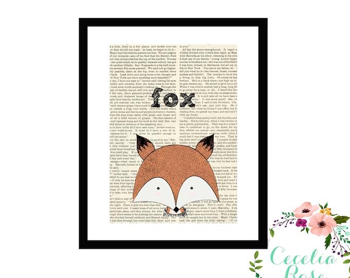 Fox Book Art Vintage Book Art Cute Simple Fox Box Frame or Print