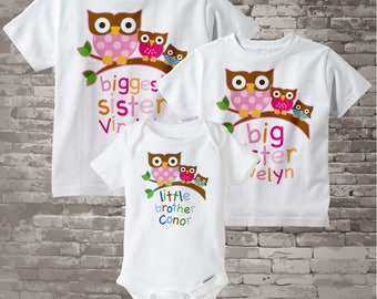 Big Sister Little Brother Outfits, Biggest Sister, Big Sister, and Little Brother Set Personalized Owl Shirt or Onesie Set of 3 03192012a