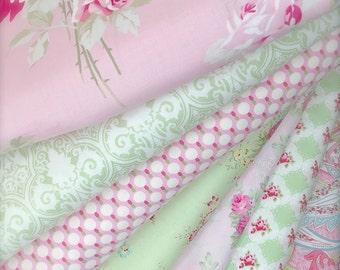 Coordinated Mix Fabrics for Shabby Chic Sewing Kits  Summer Boutique Clothing Home Decor Sewing in Pink, Green and Ivory