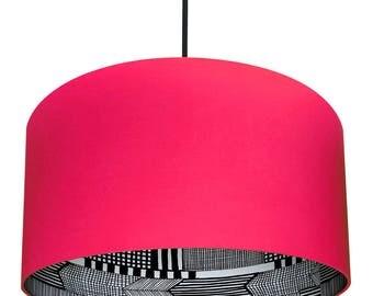 Watermelon Pink Marimekko Handmade Silhouette Lampshades
