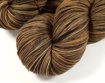 Hand Dyed Yarn - Sock Weight 4 Ply Superwash Merino Wool Yarn - Potluck Woodgrain - Knitting Yarn, Sock Yarn, Brown Speckled Yarn, Neutral