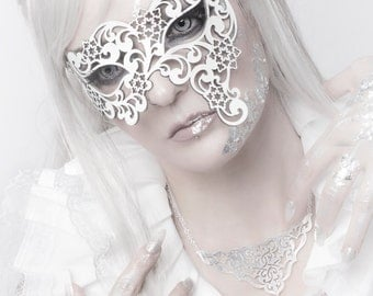 White Leather Snowflakes Asymmetrical Masquerade Masks - Snow Queen - WINTER ZEPHYR