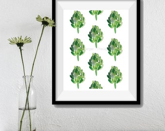 Artichokes  Art Print, moss green, kitchen decor, Vegetable art, print of watercolor, Kitchen art, foodie gift,  limited edition print