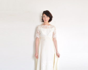 palest yellow mod lace wedding dress . 1960 mid century bridal gown .small .sale