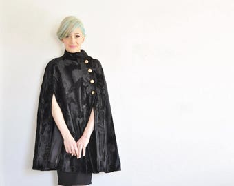 r e s e r v e d plush black fur mod cape coat . military brass button down front .small.medium.large .sale