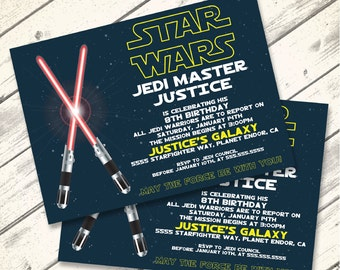 Star Wars Invitation - Star Wars Birthday Party,  Star Wars Party, Red Lightsaber | Editable Text - DIY Instant Download PDF Printable