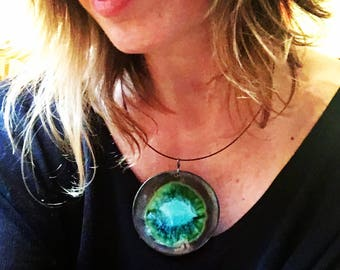 Bold Statement Necklace in Black and Teal