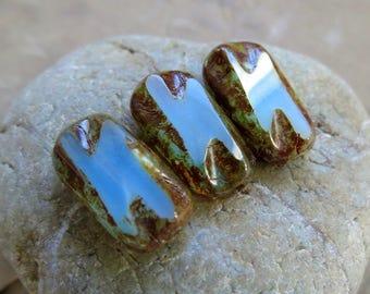 NEW PACIFIC Beach REX . Czech Picasso Glass Beads (4+ beads) 16 mm by 9 mm