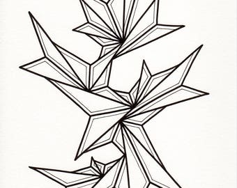 "Original freehand line drawing - black and white abstract minimalist art - modern contemporary home decor - women's art - ""Hard Rain"""