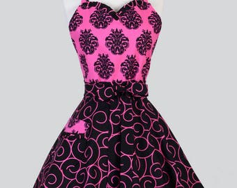 Sweetheart Pinup Womans Apron , Sexy Pink and Black Damask and Scrolls Cute and Flirty Vintage Inspired Kitchen Apron with Pocket