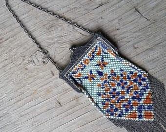 Vintage Orange Blue and Aqua Mesh Metal Mandalian Flapper Bag