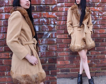 Vintage Wool Fur Trimmed Coat