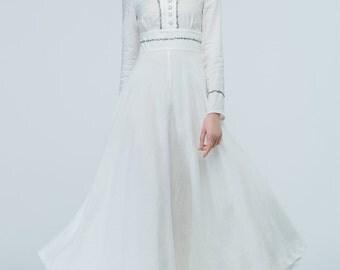 white dress, linen dress, prom dress, wedding dress, bridesmaid dress, high waisted dress, maxi dress, womens dresses, spring dress 1709