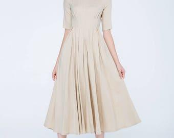 beign dress, pleated dress, midi dress, womens dresses, flare dress, high waisted dress, summer dress, prom dress, party dress, gift  1741