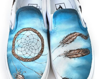 Custom Vans Shoes - Hand Painted Dream Catcher