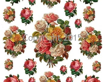 Printable Victorian Flowers Pink and Yellow Roses Collage Sheet.  Instant Digital Download,  Flowers, Scrapbook Embellishments